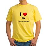 I Love Great Grandmother Yellow T-Shirt