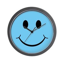 Blue Smiley Face Wall Clock