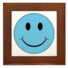 Blue Smiley Face Framed Tile