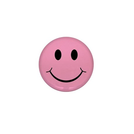 Pink Smiley Face Mini Button (100 pack)