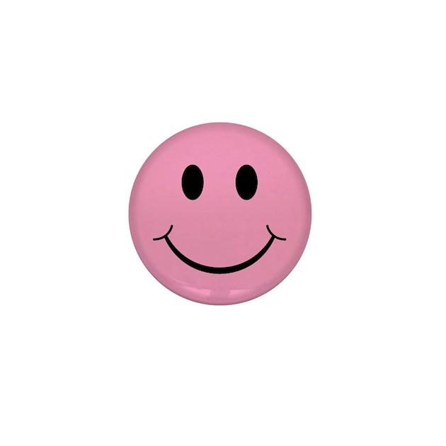 Pink Smiley Face Mini Button By Thespankdmonkey