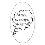 Planning Escape (Winter) Oval Sticker