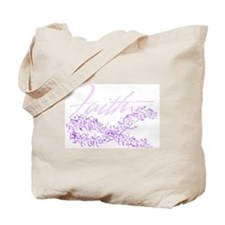 Purple Cancer Awareness Ribbon Tote Bag