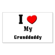 I Love Granddaddy Rectangle Decal