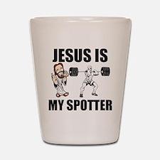 Jesus Is My Spotter Shot Glass