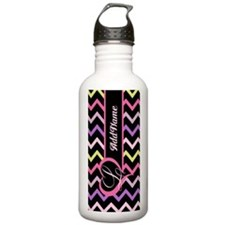 Cool Trendy Colourful Chevron Monogram Water Bottl