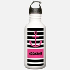 Pink Black Anchor Stripes Personalized Water Bottl