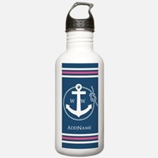 Rope Stripes and Anchor Monogram Water Bottle