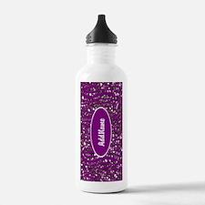 Purple Faux Glitter Zebra Personalized Water Bottl