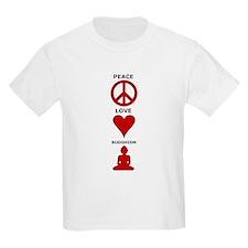 Peace Love Buddhism Kids T-Shirt