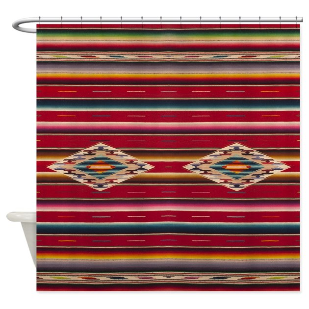 Southwest Red Serape Saltillo Shower Curtain By Studioarmen
