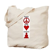 Peace Love Buddhism Tote Bag