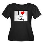 I Love Baby Women's Plus Size Scoop Neck Dark T-Sh
