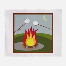 Roasting Marshmallows Throw Blanket