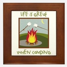 Life Is Great When Camping Framed Tile