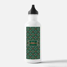 Silver Green Pattern Personalized Water Bottle