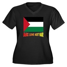 *** Palestin Women's Plus Size V-Neck Dark T-Shirt