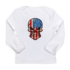 American Flag Sugar Skull Long Sleeve T-Shirt