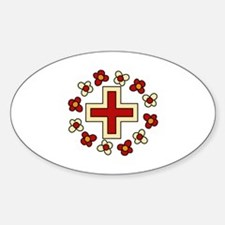 Floral Red Cross Decal
