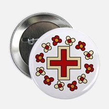 "Floral Red Cross 2.25"" Button"