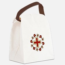 Floral Red Cross Canvas Lunch Bag