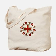 Floral Red Cross Tote Bag