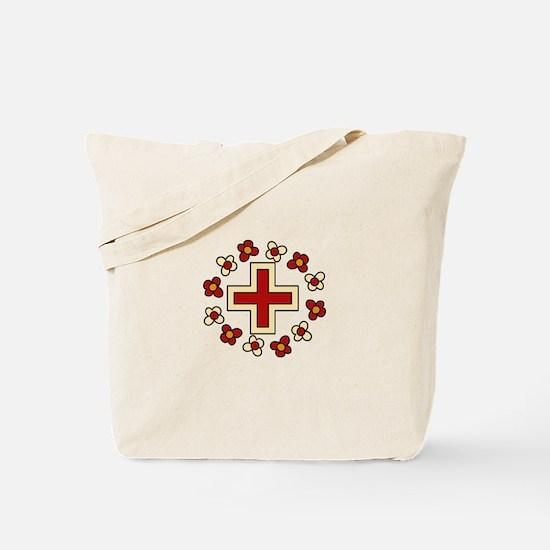 Floral Red Cross Tote Bag