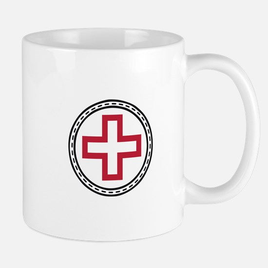 Circled Red Cross Mugs