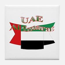 UAE flag ribbon Tile Coaster