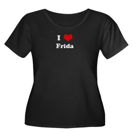I Love Frida Women's Plus Size Scoop Neck Dark T-S