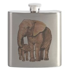 Cute Mother elephant and baby elephant Flask