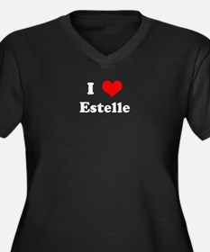 I Love Estelle Women's Plus Size V-Neck Dark T-Shi