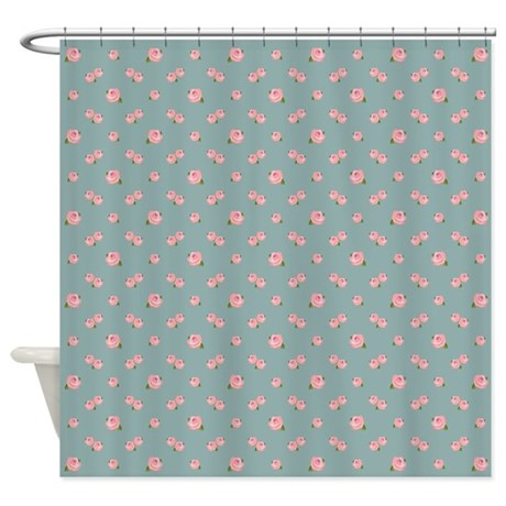 Pink Rose Rpt Pattern On Light Teal Shower Curtain By NataliePaskellDesign