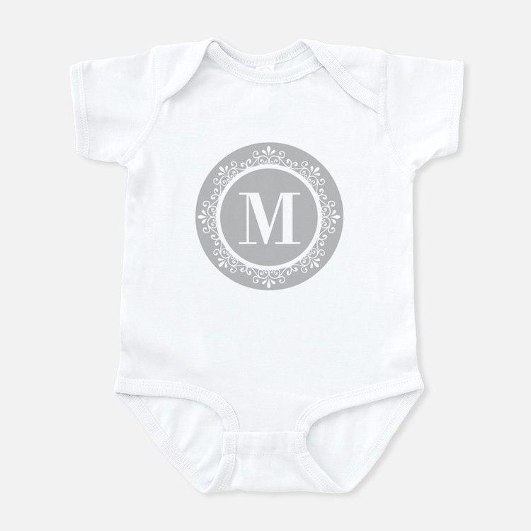 Gray | White Swirls Monogram Infant Bodysuit