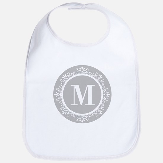 Gray | White Swirls Monogram Bib