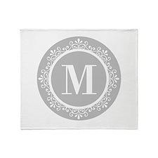 Gray | White Swirls Monogram Throw Blanket