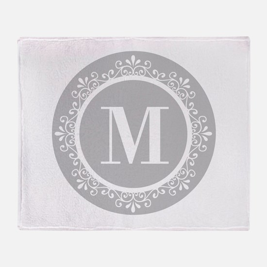 Gray | White Swirls Monogram Throw Blanket