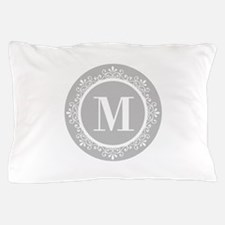 Gray | White Swirls Monogram Pillow Case