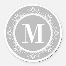 Gray | White Swirls Monogram Round Car Magnet