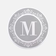 "Gray | White Swirls Monogram 3.5"" Button"
