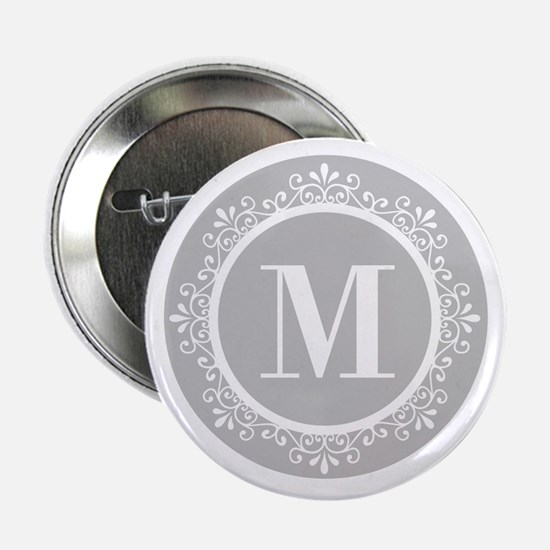 "Gray | White Swirls Monogram 2.25"" Button"