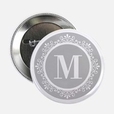 "Gray | White Swirls Monogra 2.25"" Button (10 pack)"