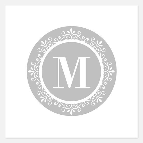 Gray | White Swirls Monogra Invitations