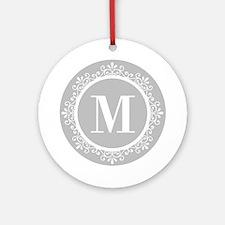 Gray | White Swirls Monogram Ornament (Round)