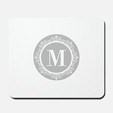 Gray | White Swirls Monogram Mousepad