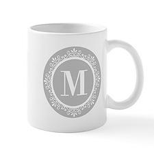 Gray | White Swirls Monogram Mug