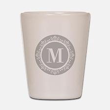 Gray   White Swirls Monogram Shot Glass