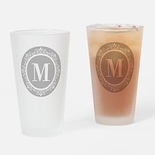 Gray | White Swirls Monogram Drinking Glass
