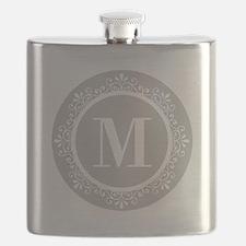 Gray   White Swirls Monogram Flask
