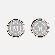 Gray | White Swirls Monogram Round Cufflinks